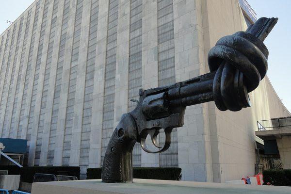 New York City non-violence art, 1985 by artist Carl Fredrik Reuterswärd